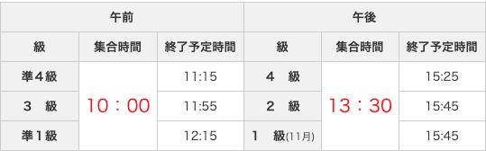 中国語検定の試験時間割